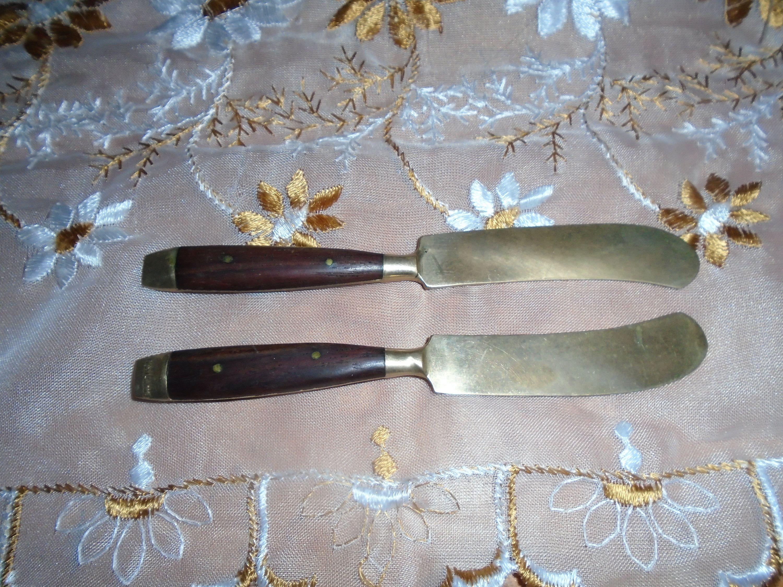 Vintage Butter Knife Spreaders Brass Teak Wood Handle Made In Etsy Teak Wood Wood Handle Butter Knife