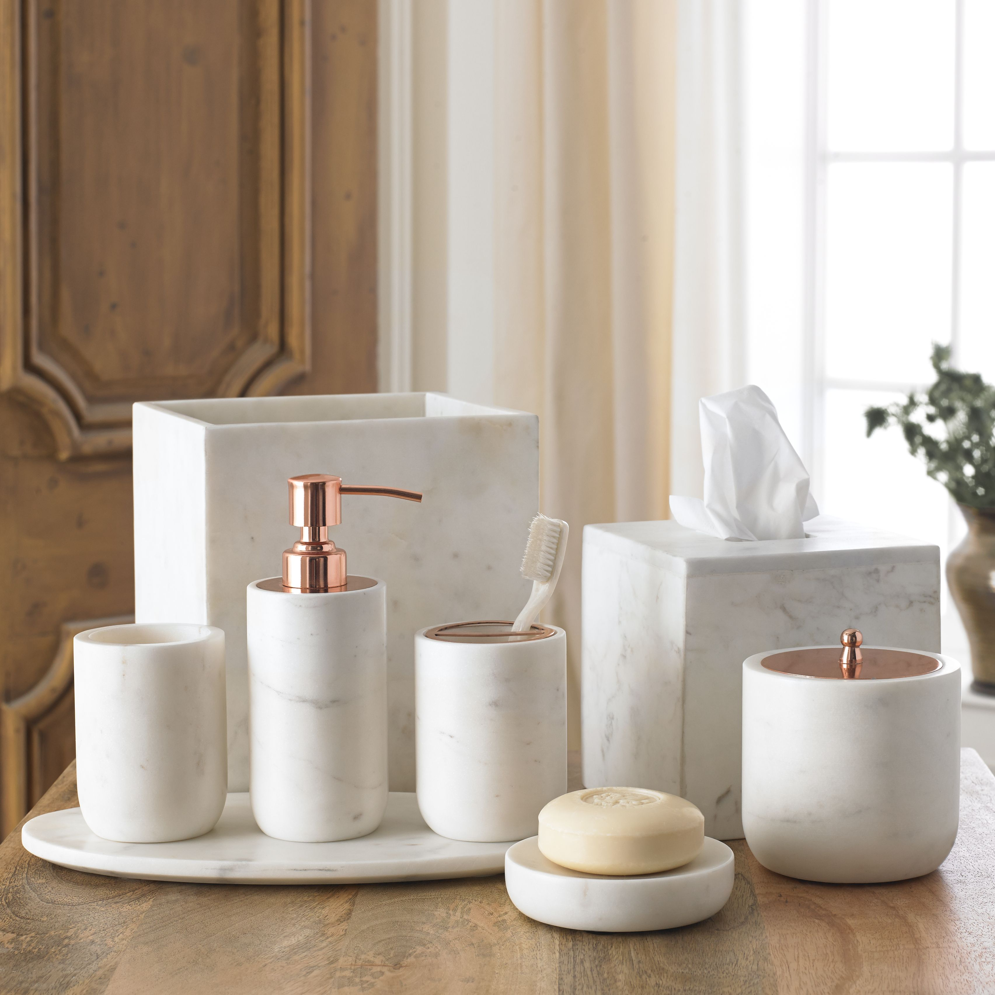 Shop more marble and rose gold bath accessories like the marble bath accessory set from kassatex at salthousemkt com