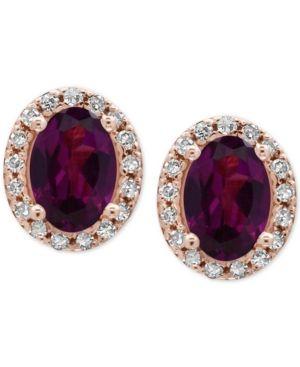 4ccaec30678015 Effy Bordeaux Rhodolite Garnet (1-1 10 ct. t.w.) and Diamond (1 8 ct. t.w.) Stud  Earrings in 14k Rose Gold - Red