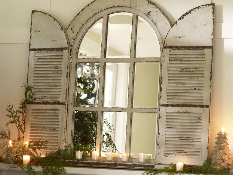 Arched Window Mirror With Shutters Pottery Barn Furniture