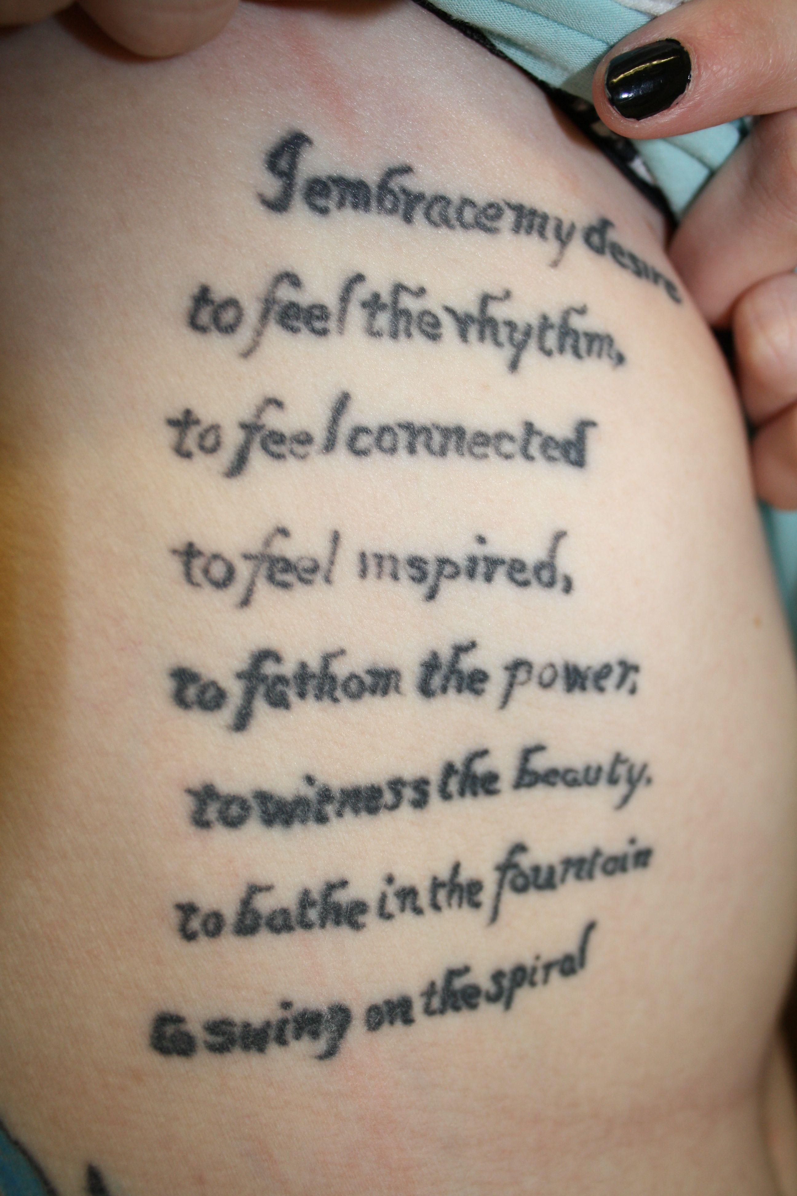 Lateralus Lyrics Tattoo Right ribs. Lyr...