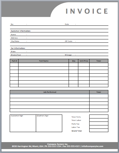 Auto repair invoice template templates pinterest for Repair ticket template