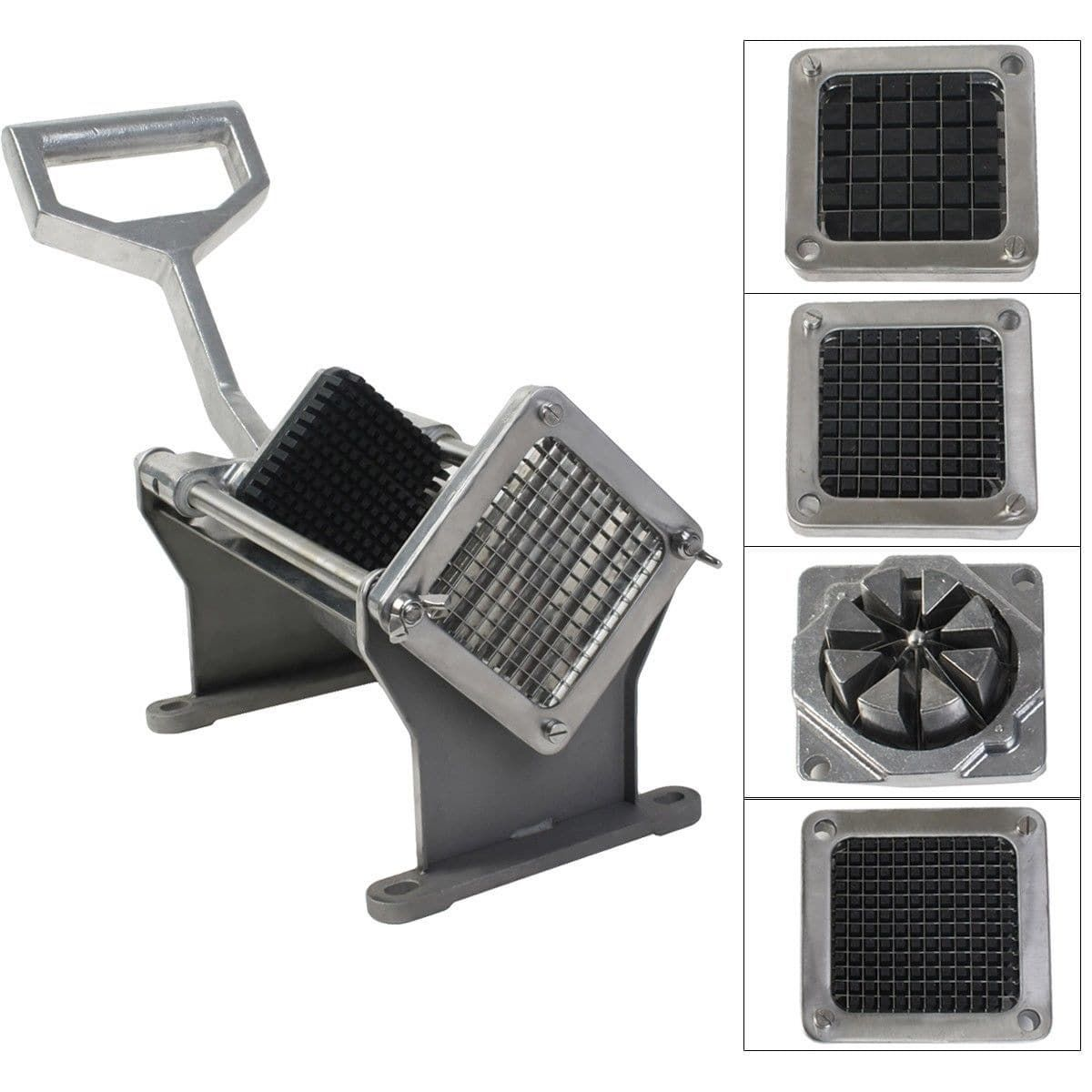 Costway Potato French Fry Fruit Vegetable Cutter Slicer Commercial Quality  W 4 Blades, Silver Stainless