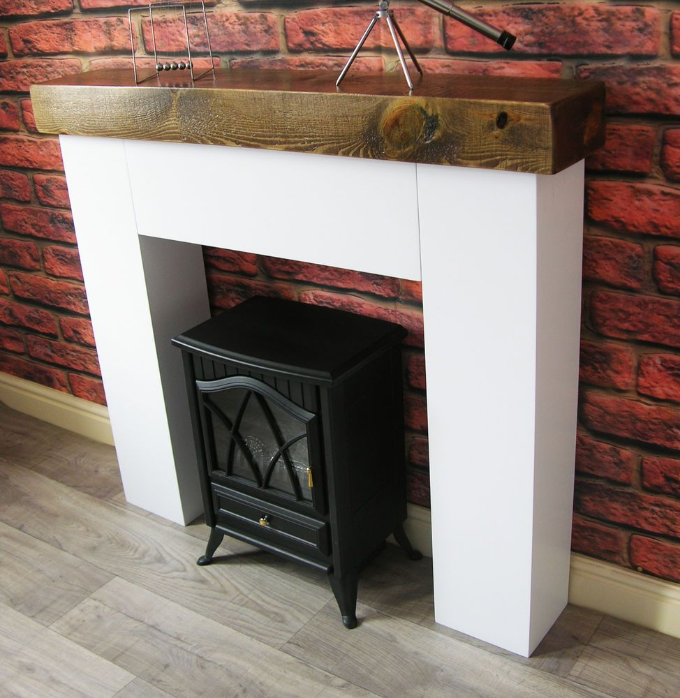 Modern Chunky Fire Surround Dark Oak Sleeper Mantle Fire