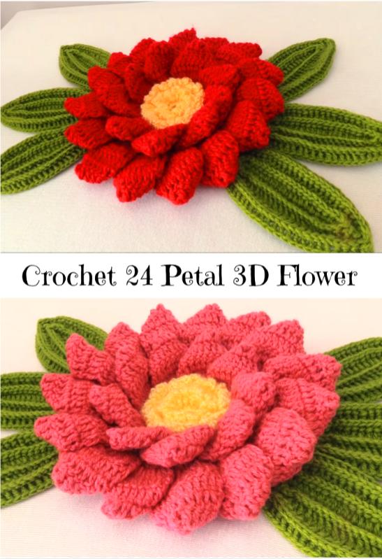 24 petal flower | Häkelblumenkurs blüte | Pinterest | Blumen, Häkeln ...