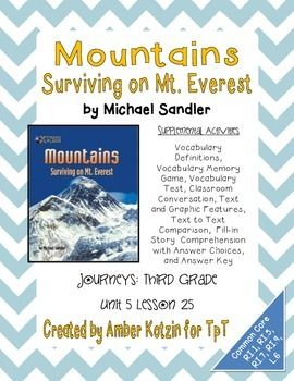 Mountains: Surviving on Mt. Everest 3rd Grade Journeys Unit 5, Lesson 25. Houghton  Mifflin HarcourtCommon Core ...