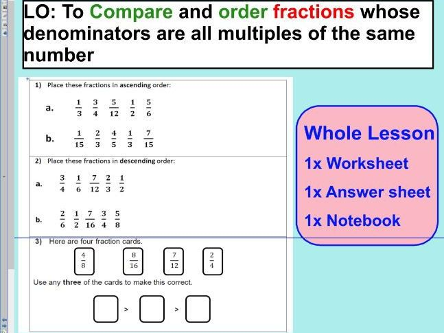 Compare Order Fractions Comparing And Ordering Fractions Ks2