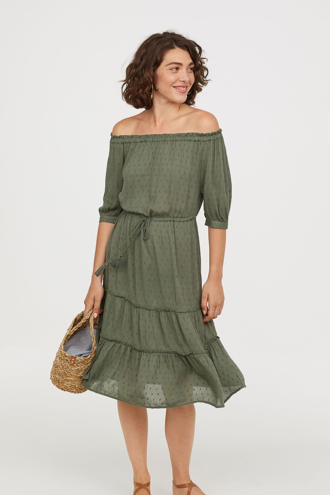 78684430872c Off-the-shoulder Dress - Khaki green - Ladies