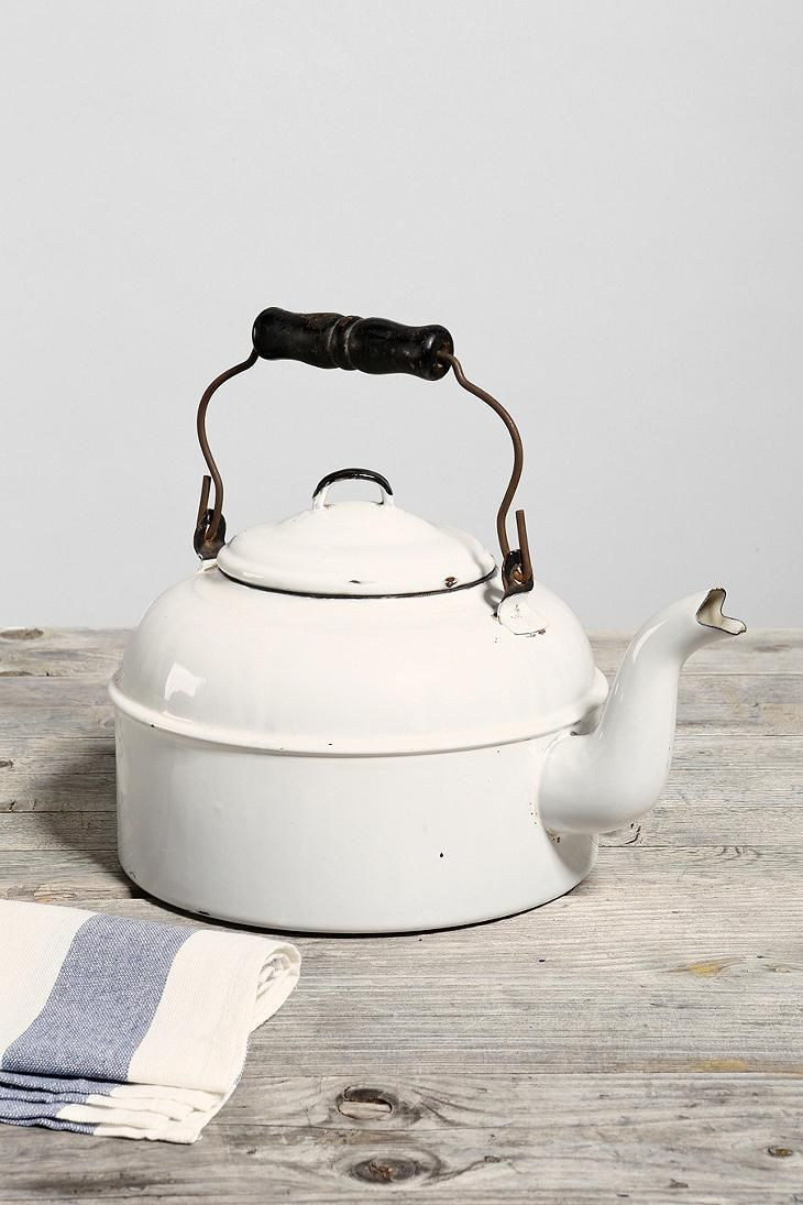 vintage enamelware white tea kettle a good cup of tea makes me  - vintage enamelware white tea kettle a good cup of tea makes me happy