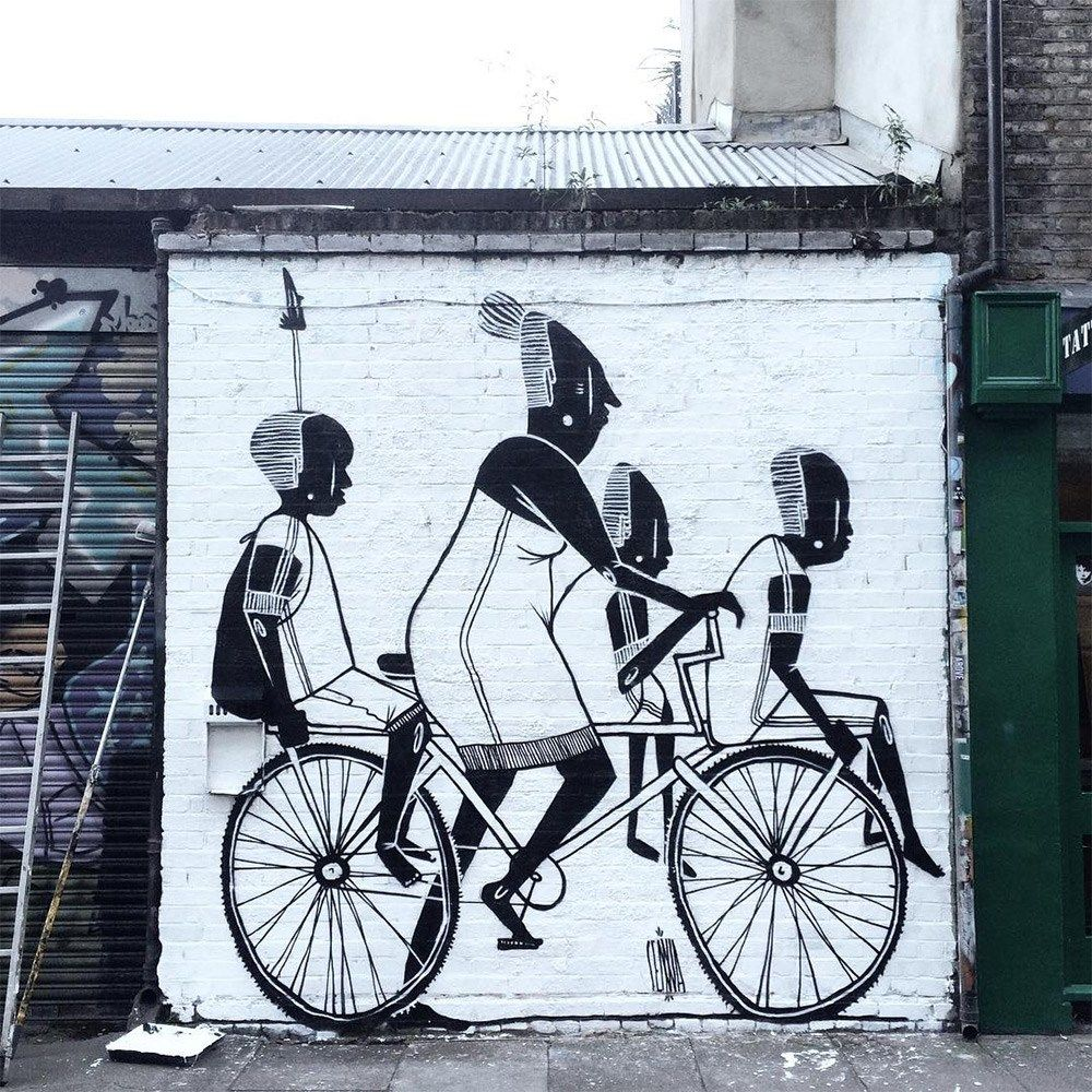 Art fun black and white murals of friends and family street art