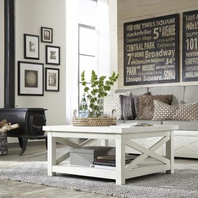 Homestyles Seaside Lodge Hand Rubbed White Coffee Table Seaside Lodge Coffee Table With Storage Furniture