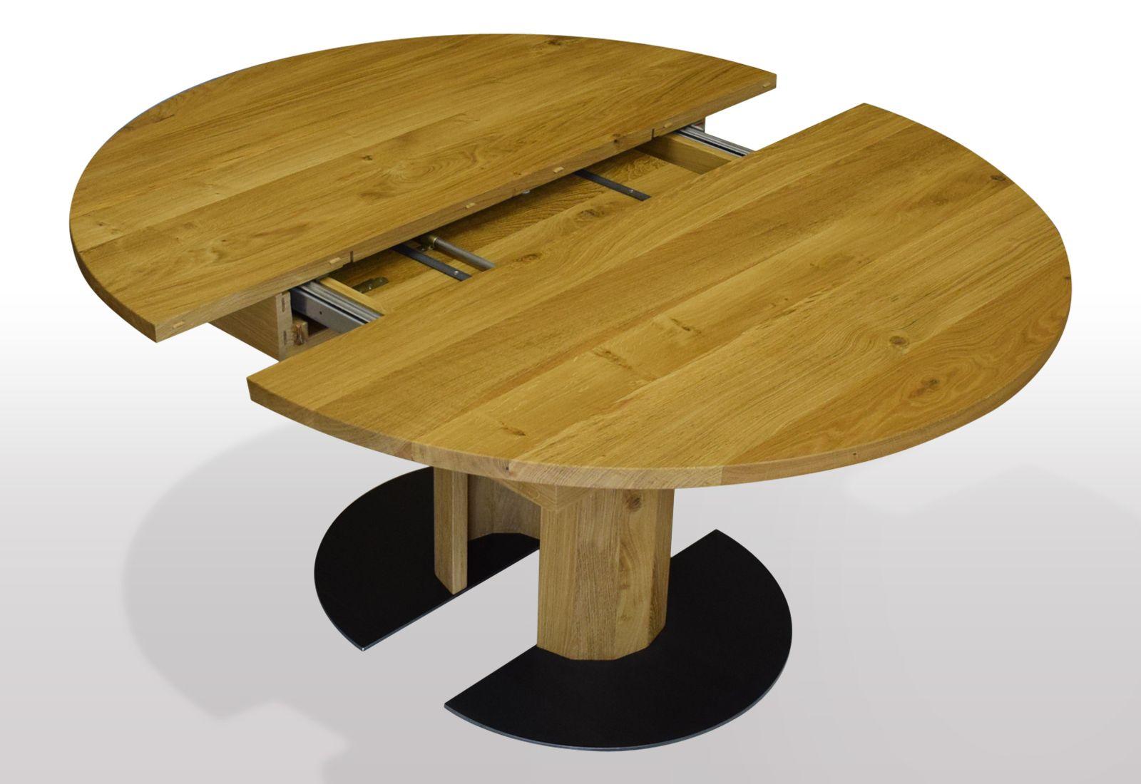 runder esstisch eiche massiv ausziehbar per mittelauszug um 50cm ausf hrung auf holzs ule mit. Black Bedroom Furniture Sets. Home Design Ideas