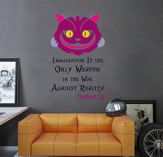 kcik1541 Full Color Wall decal Alice in Wonderland Cheshire Cat quote bedroom children's room
