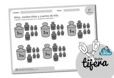 Dona Tijera Kilos Medios Kilos Y Cuartos De Kilo Fichas Unidades De Medida Matematicas