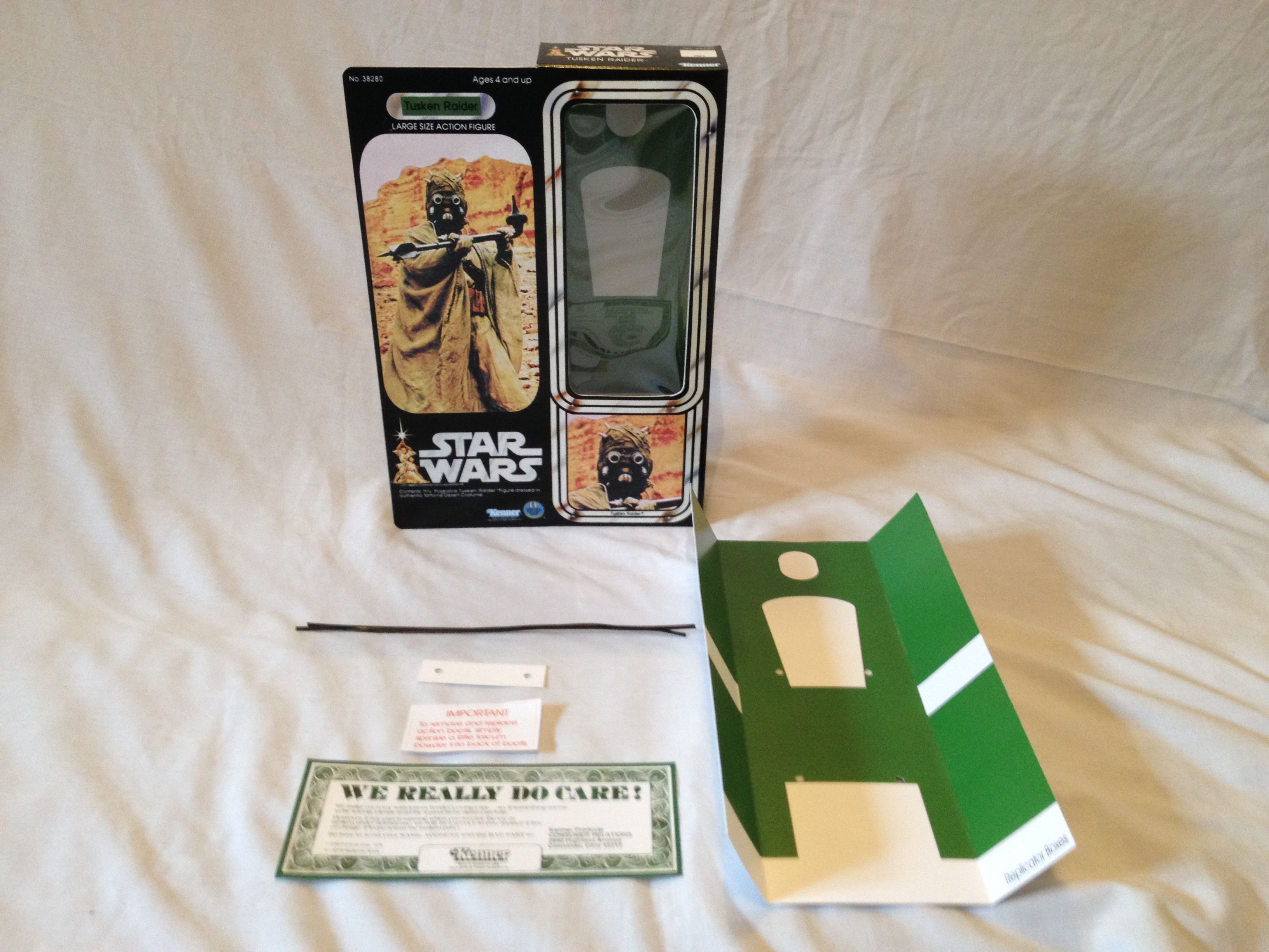 Custom 12 inch Tusken Raider box and inserts complete with twist ties and paper work