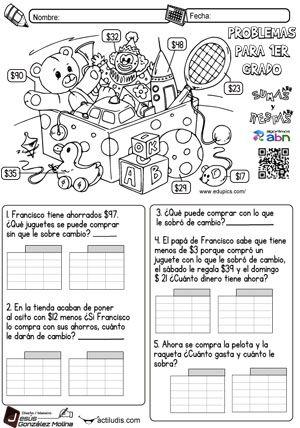 Problemas para primer grado. | aprender | Pinterest | Primeros ...