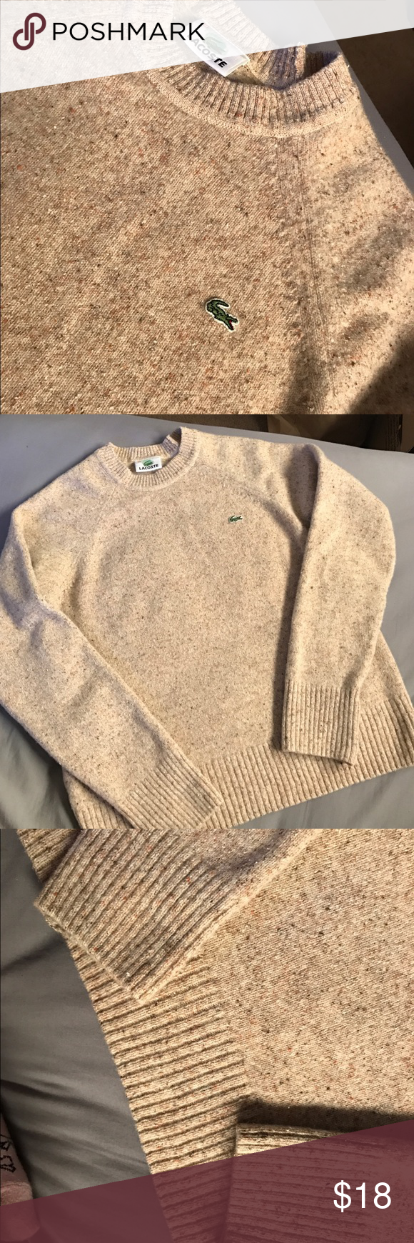 Small V Neck Jumper Beige Mens Very Good Condition