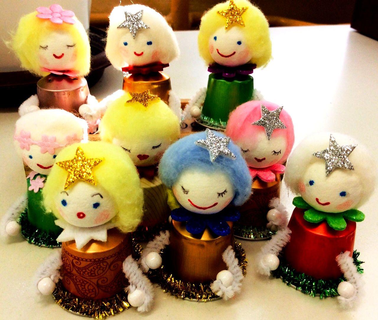 9 little Nespresso angels Homemade christmas tree