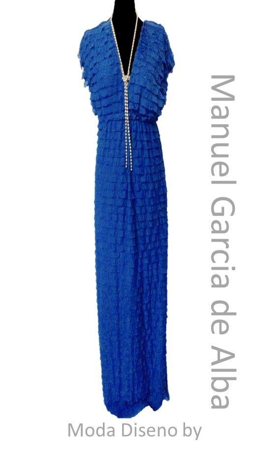 """Maxi dress azul con cuello en """"V""""ideal para este verano"""