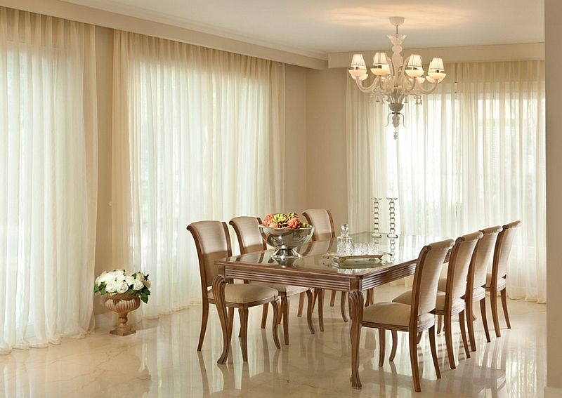 Give The Dining Room A Warm Dreamy Ambiance With The Right Drapes Dining Room Curtains Beautiful Dining Rooms Dining Room Contemporary