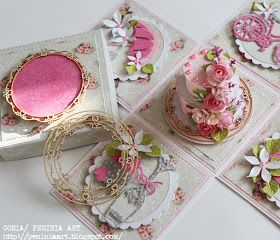 Dziś moja kolejna inspiracja na blogu Wycinanki .   Kolorowe i bogato zdobione pudełeczko z tortem na urodziny, które ozdobiłam mini ramecz...