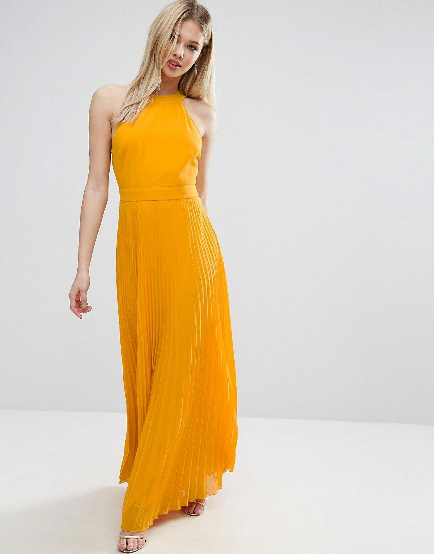 f2fd64c761a ASOS Halter Neck Pleated Maxi Dress With Open Back - Yellow ...