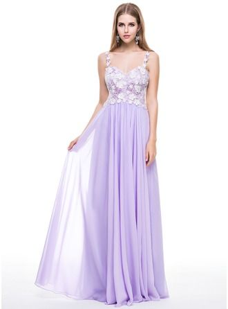 A-Line/Princess Sweetheart Floor-Length Chiffon Prom Dress With Lace Beading Sequins