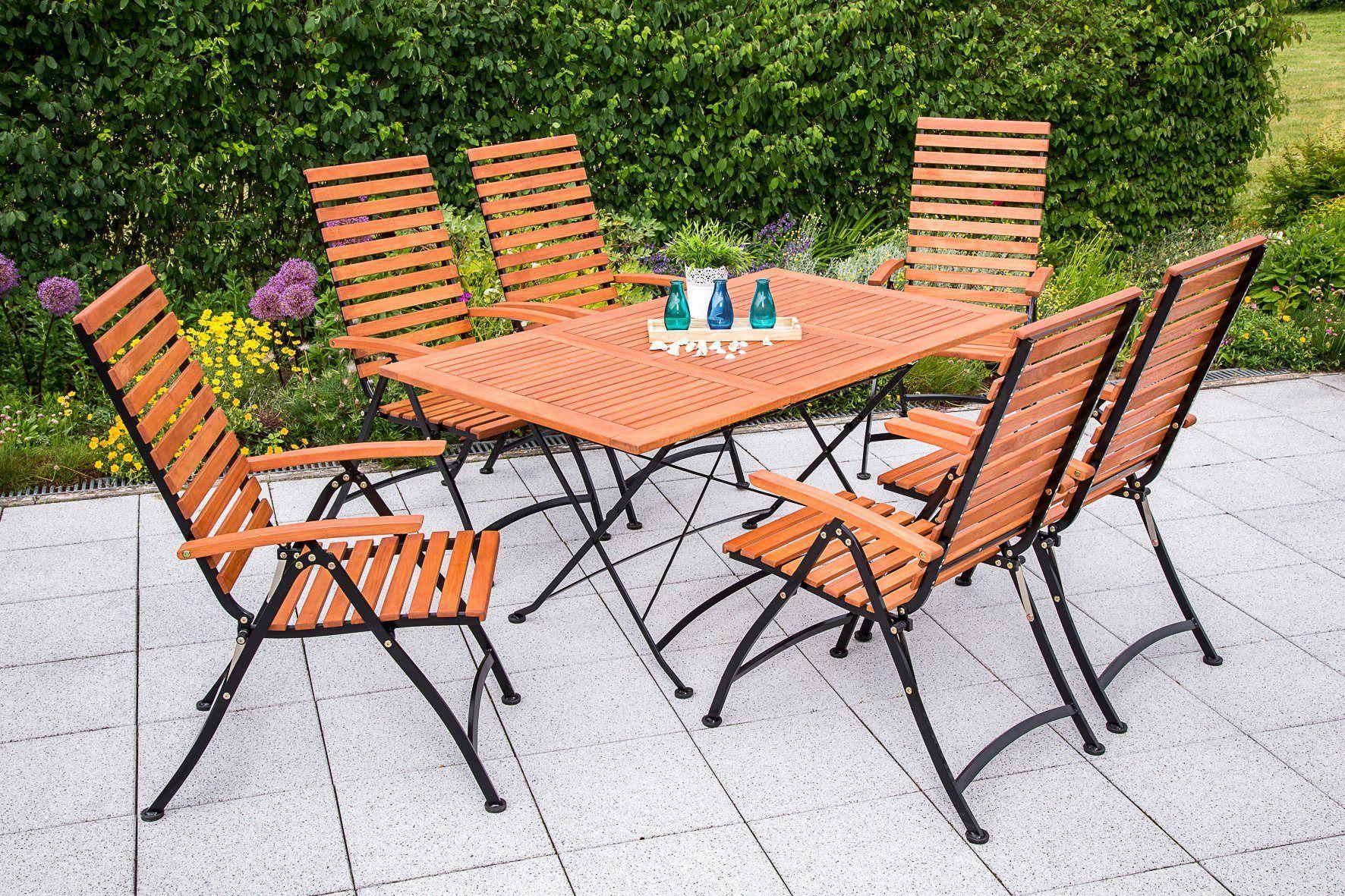 Amazon De Klappgarnitur Schlossgarten 5 Teilig 4x Armlehnensessel Ausziehtisch Stahl Eukalyptus Fsc Zertifiziert Ausziehtisch Klapptisch Gartenmobel