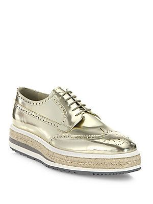 a3355aee Prada Platform Wingtip Leather Sneakers | New Year's Eve ...