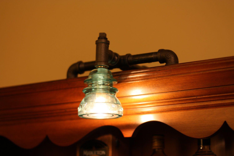 bookshelf lighting. Items Similar To Unique Industrial Bookshelf Lamp With Antique Glass Insulator On Etsy Lighting