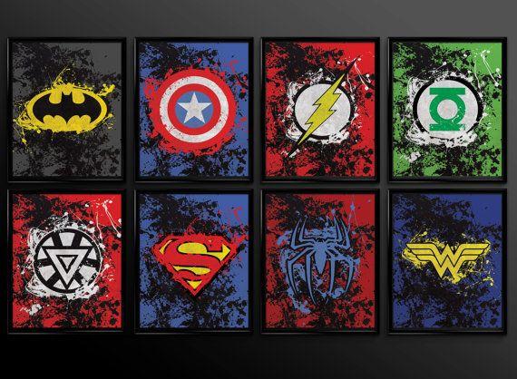 Set Of 2 Prints Superhero Wall Art Decor Superman Batman Ironman Spiderman  Wonder Woman Comic Book