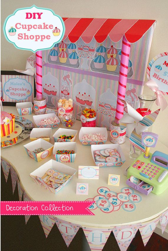 Cupcake Party Decoration DIY Printable Kit INSTANT DOWNLOAD