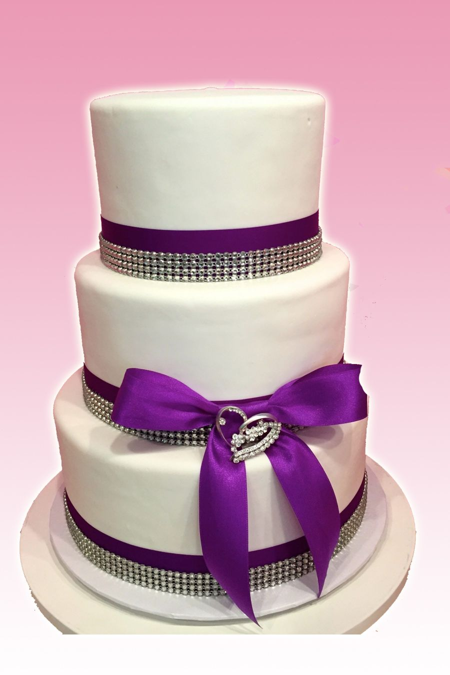 3 Tier Wedding Cake with Purple Ribbon and Bling JordanSutton
