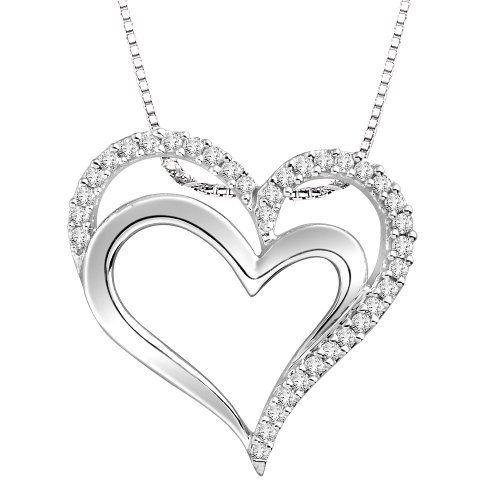 10k White Gold Diamond Fashion Double Heart Pendant Necklace 1 5 Cttw H I Color I2 Clarity 18 Amazon Heart Pendant Diamond Heart Pendant Necklace Diamond