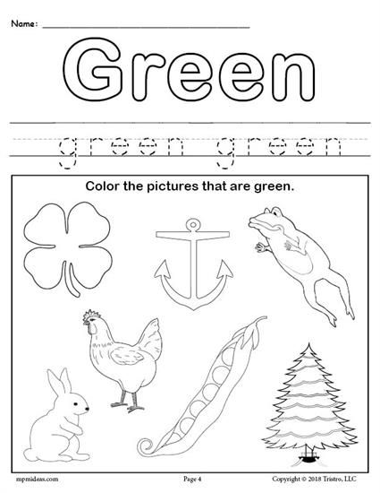 FREE Color Green Worksheet In 2018