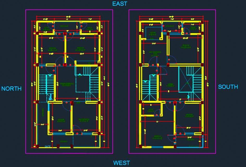 Autocad drawing and space planning of 2 bhk duplex house - Autocad home design software free download ...