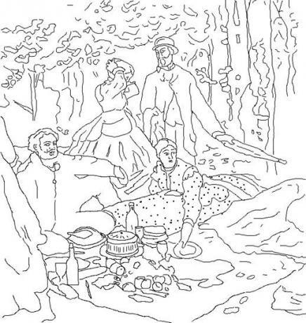Coloriage Le Dejeuner Sur L Herbe D Apres Claude Monet Coloriage Monet Art Celebre