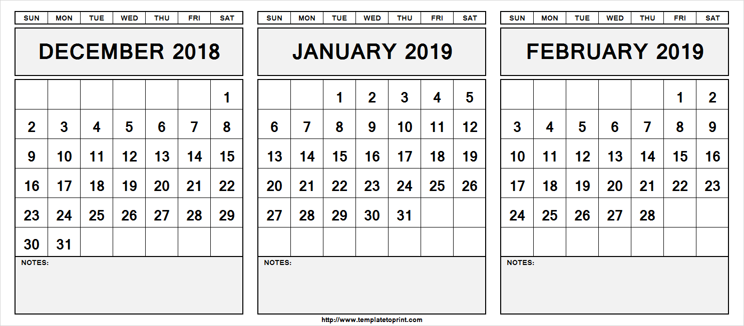 December 2019 To January 2019 Calendar Printable December 2018 January 2019 & February 2019 Calendar | 555+