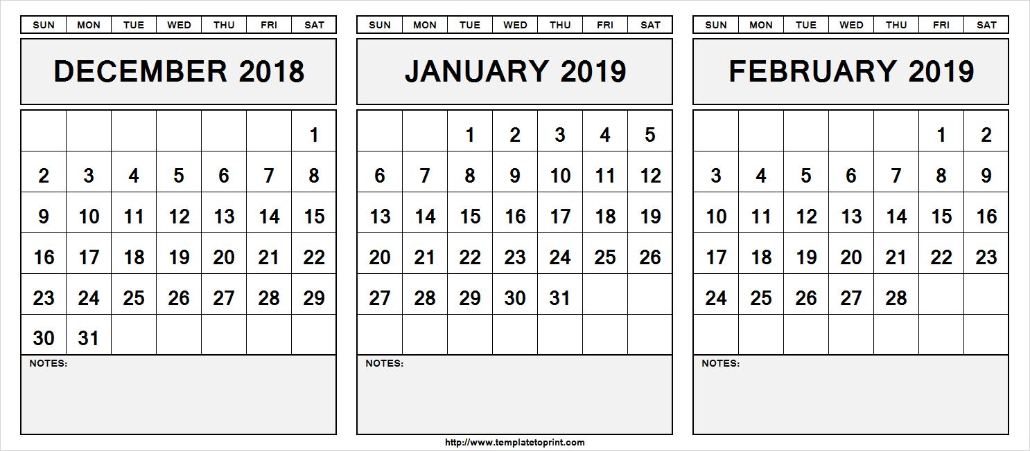 December 2019 Through January 2019 Calendar December 2018 January 2019 & February 2019 Calendar | 555+