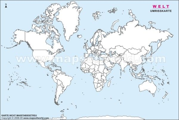 Welt Umrisskarte Karten Landkarte