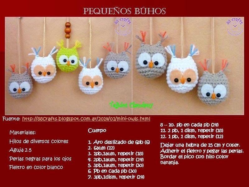 Patrón buho llavero. by Old - Fashioned Girl | llaveros crochet ...