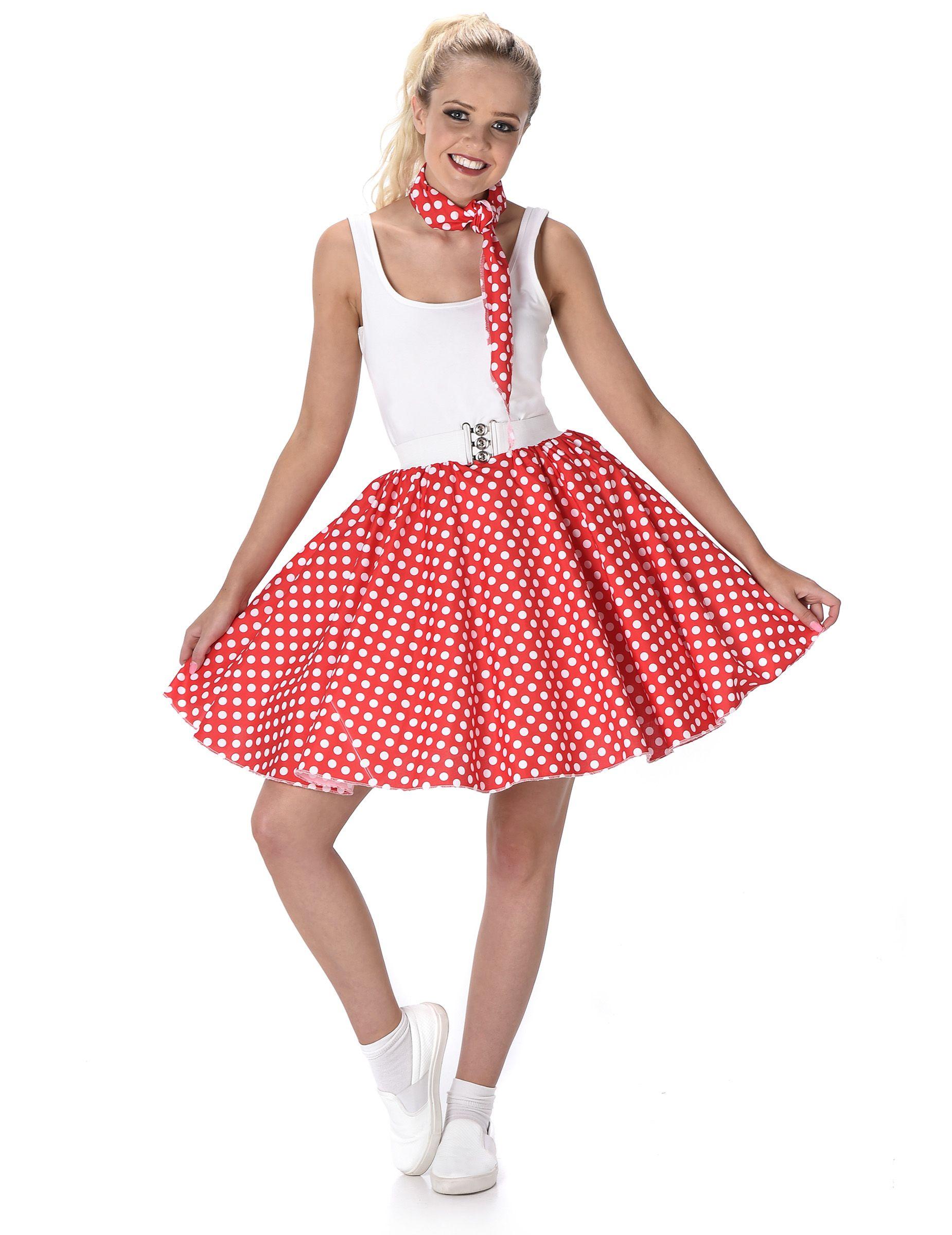 Disfraz años 50 rojo con puntos mujer: Este disfraz años 50 para mujer incluye falda