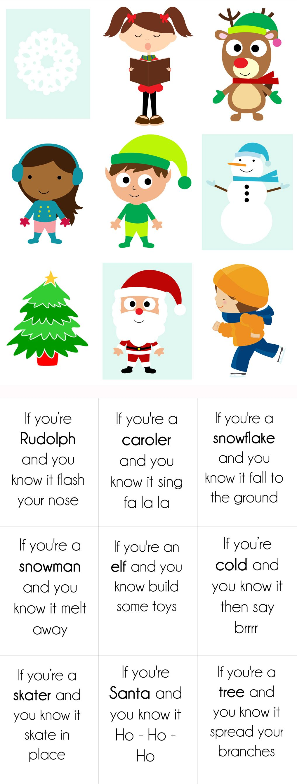Printable Christmas Song Cards Game for Kids Preschool