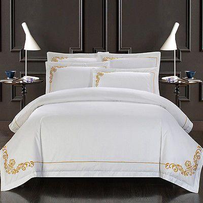 100 Egyptian Cotton White Gold Royal Queen King Size Duvet Cover Bedding Set Hotel Bedding Sets Queen Size Bed Sets Hotel Duvet Covers