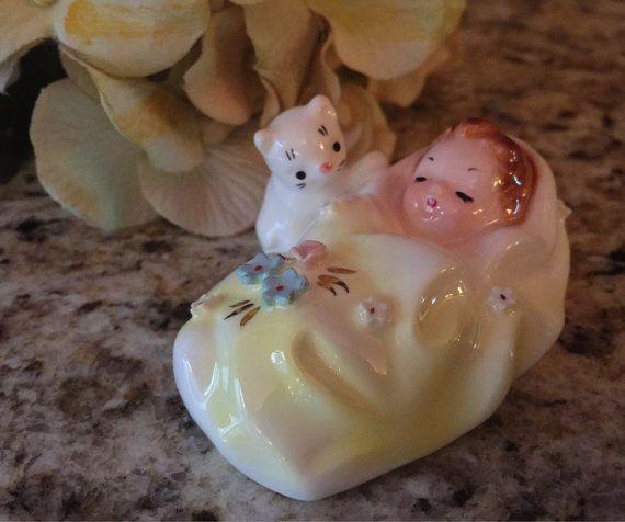 Josef Originals Baby with White Kitten Yellow by CottageHillCrafts