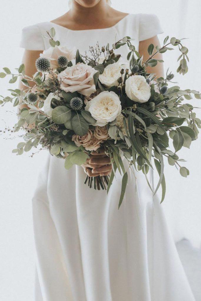stunning blush greenery wedding bouquets with thistles #weddingflowers