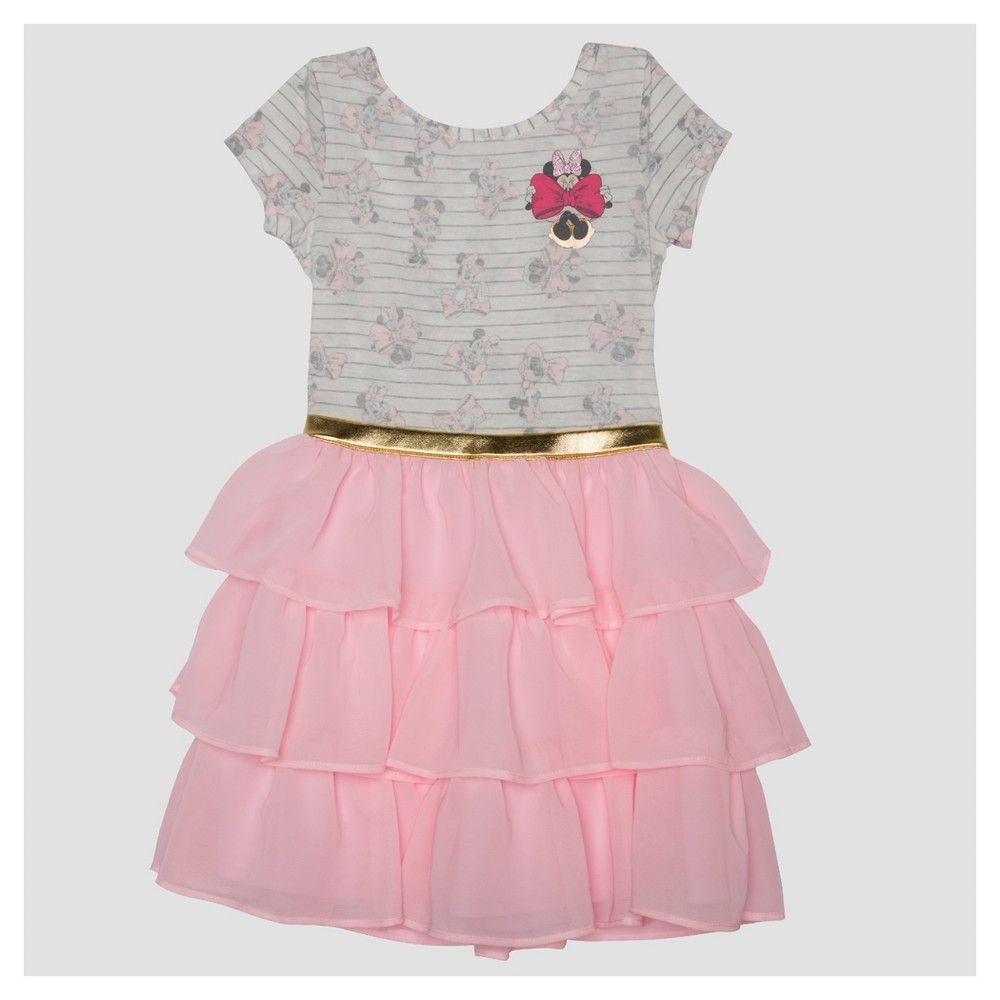 Girls' Minnie Mouse Short Sleeve Dress - Pink Xxl Plus