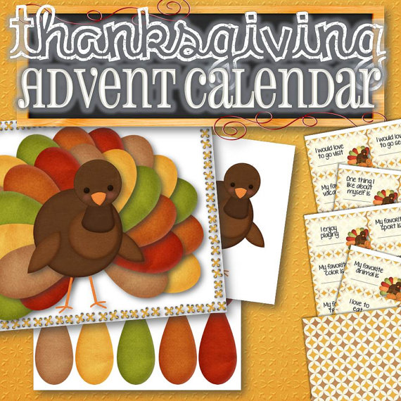 ★ PRINTED VERSION - http://etsy.me/1oQF7S2  Countdown to Thanksgiving with this fun printable turkey! Purchase includes a blank sheet with 30 colorful feathers, a turkey, example turkey page and 30 thankful prompt cards with a design page for the backs. Each day, say something you are grateful for as you add feathers to your turkey. Use the included prompt cards to stimulate ideas and dinner conversations. Happy Thanksgiving!  ✫ MORE THANKSGIVING ITEMS: http://etsy.me/28Ovcgz ✫…