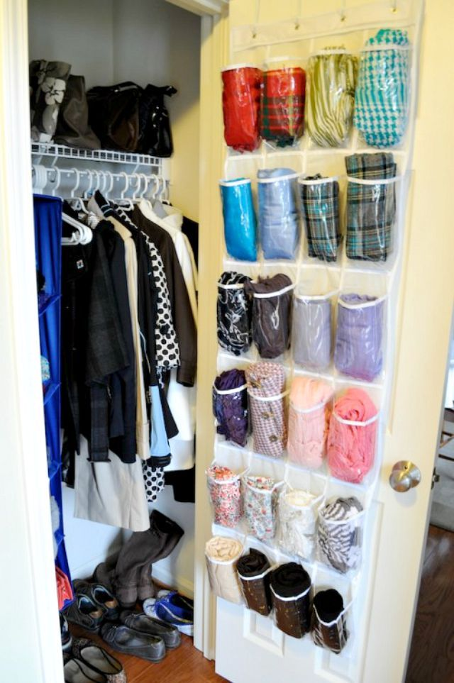 15 Ways To Use The Back Of A Closet Door For Storage And Organization Scarf Storage Scarf Organization Shoe Caddy