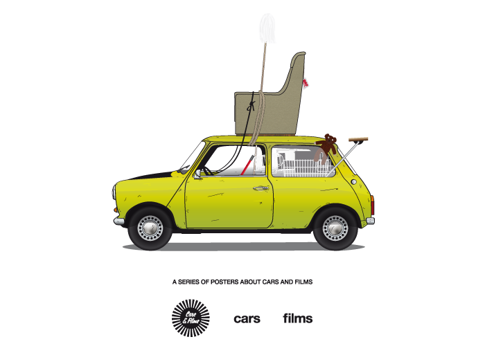 Cars Films Is A Series Of Posters By Jesus Prudencio Popular Movies Are Described By Vehicles Carsandfilms Film Famous Vehicles Mr Bean Cartoon Mr Bean